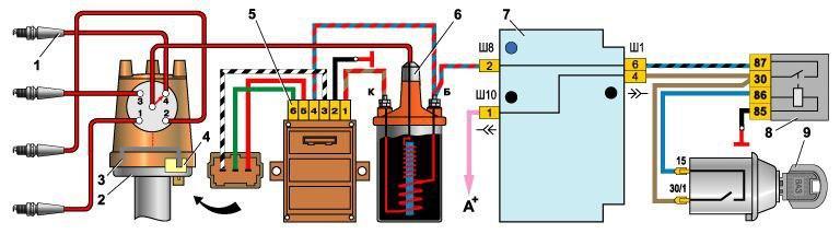 схема подключения коммутатора ваз 2107