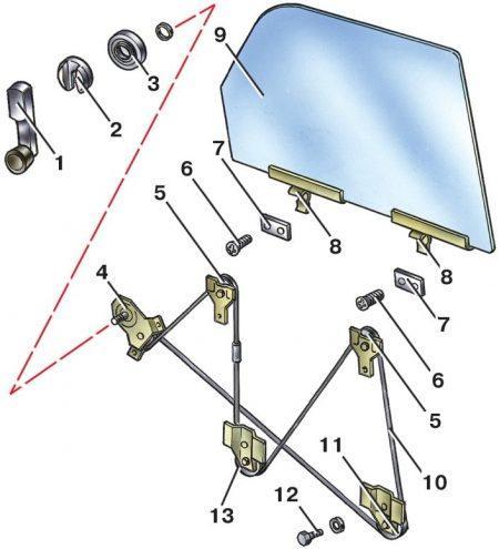 Схема троса стеклоподъемника ваз 2107