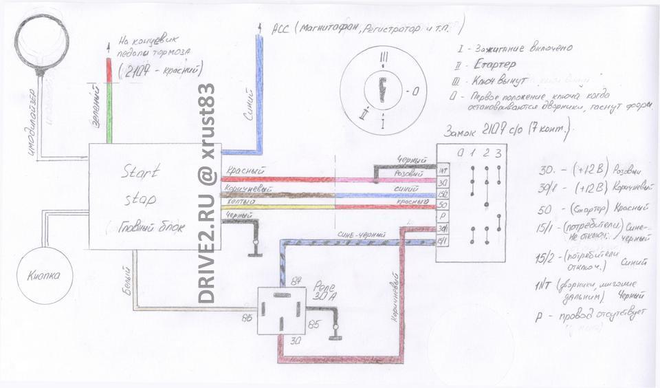 Схема кнопки старт стоп на ваз 2107